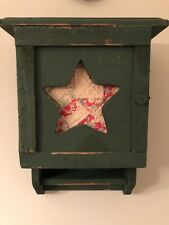 Primitive Cupboard Wall Hanging Wood Green Rustic Shelving Quilted Star