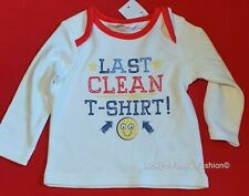 NEW M&Co TINY BABY size boy girl long sleeve cotton white T shirt top Newborn