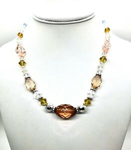 Necklace Acrylic Beads Clear Pink Topaz Blue Green 16 inches N106