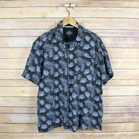 NAT NAST Men's Short Sleeve Button Front Silk Blend Shirt L Large Black Blue