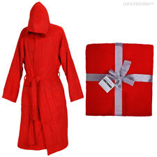 HOODED BATHROBE 100% COTTON M L XL XXL PRESENT GIFT MENS LADIES GOWN ROBE