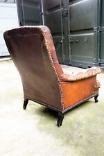 Antique 19th Century French Chair, Upholstered in original cow hide leather