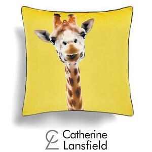 "Catherine Lansfield Giraffe Yellow Cushion Cover Velvet Animal Covers 22"" x 22"""