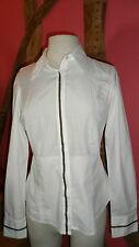Size 8 White Long Sleeve Blouse with Striped Yoke by Alan Manoukian