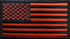 USA FLAG  LARGE RED BLACK TACTICAL COMBAT SEAL 5 INCH HOOK PATCH