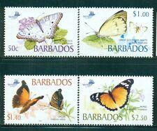 BARBADOS 1073-76 SG 1261-64 MNH 2005 Butterflies set Cat$13