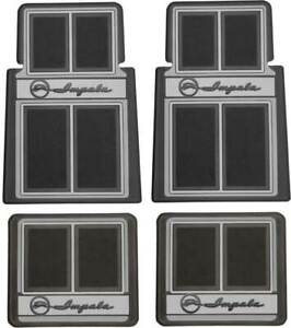 "1958-92 Chevrolet Impala; Carpet Floor Mat Set; ""Impala"" Script Logo; Black;  4"