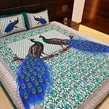 Peacock Collection Cotton Bed Sheet Double with Pillow Cover King Size