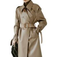 Neue Damen Kunstleder Mode Trenchcoat Revers Gürtel Lange Mäntel Windbreaker L