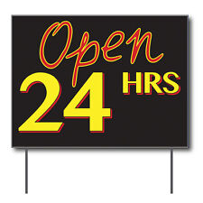 """Open 24 Hrs Curbside Sign, 24""""w x 18""""h, Full Color Double Sided"""