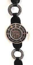 LADIES COPPER METAL 3D RELIEF SUN FACE FASHION WATCH*GENUINE BLACK LEATHER BAND*