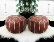 Moroccan 100% leather pouf, chair ottoman, footstool, buy one get one free