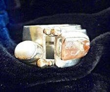 Freshwater Pearl Ring - Size 7.5 Lilly Barrack Sterling Silver/Gold Beryl and