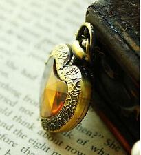 Vintage Carving Bronze Heart-Shape Quartz Pocket Watch Necklace + Chain Pendant