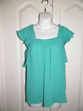 ANTHROPOLOGIE MEADOW RUE Button Back Cap Sleeve Swing Shirt Blouse Size 2