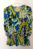 Peter Nygard L Stretch Knit Top 3/4 Ruched Sleeve Blouse