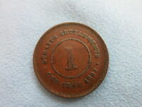 STRAITS SETTLEMENTS Malaysia Britain 1 cent 1897 VF Queen Victoria