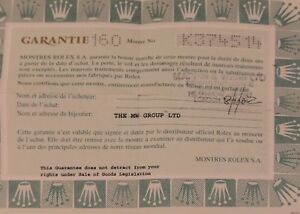 ROLEX 76094 Guarantee Papers 2000 UK