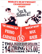 PRIMO CARNERA MAX BAER HEAVYWEIGHT CHAMPIONSHIP  POSTER GLOSSY MSG NEW YORK