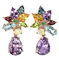 REAL BIG 16x12 AMETHYST TOPAZ CITRINE OPAL EMERALD STERLING 925 SILVER EARRING