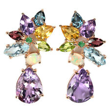 GENUINE PURPLE AMETHYST TOPAZ CITRINE OPAL & EMERALD STERLING 925 SILVER EARRING