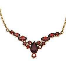Damen Collier Statement Halskette 333 Gold Gelbgold 14 Granate rot 42 cm Kette.