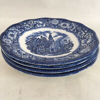 "Staffordshire Ironstone Liberty Blue Old North Church Dessert Bowl 6"" Saucers 4"
