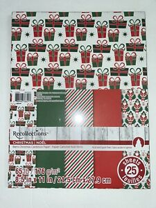 """Recollections Cardstock Paper 8 1/2"""" x 11"""" 25 Sheets CHRISTMAS Holiday NIP"""