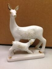 Beautiful Deer Figurine Porcelain White Gold Accents Fawn