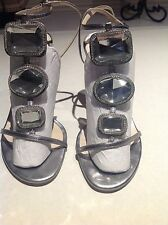 Authentic Christian Dior Sandals With Crystal straps in Silver Size EU 38 /UK5