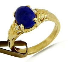 New Petite Blue Lapis 14k Solid Yellow Gold Ring with Diamond Accent