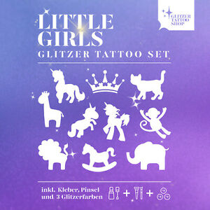 Glitzertattoo Kinderfest Little Girls Set 27 tlg Glitzer Tattoo Geschenke Set