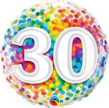 "30th BIRTHDAY PARTY SUPPLIES BALLOON 18"" BIRTHDAY RAINBOW CONFETTI FOIL BALLOON"