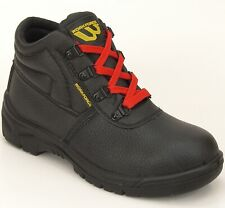 Workforce Steel Toe Cap Black Leather Safety Boots Shoes GC2R