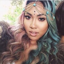 Indian Goddess Gold Turquoise Hair Head Chain Headpiece Headband Tiara Tikka