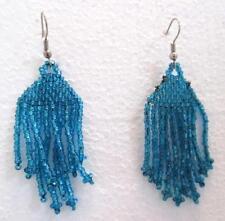"Seed Bead 3"" Drop Dangle Earrings Irredescent Blue Green Silver Tone Hooks"