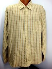 F.U.S.A.I Jeans Pale Yellow Gold Green Check LS Button Front Shirt Tag XL