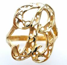 14K Yellow Gold B Initial Ring Size 8 Vintage 585 Diamond Cut Letter Jewelry