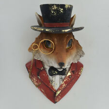 Dapper Fox Wall Bust Sculpture Country Animal Hanging Posh Plaque Unique 80305