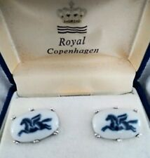 Royal Copenhagen Cufflinks Porcelain Blue Pegasus Flying Horse Nib