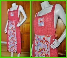 Vtg 80s Novelty Mix Print Patchwork Deep Armholes Country BOHO PINAFORE DRESS
