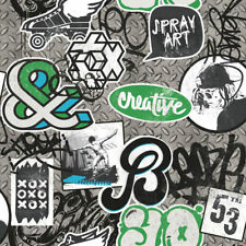 Wallpaper Muriva Scrap Metal - Graffiti Spray / Skater Iron Paint - Green L15821