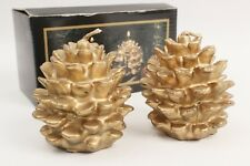 Set of Two Christmas Pine Cone Candles in Gold and Glitter Vintage