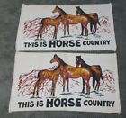 """Vintage Pair This Is Horse Country Woven Throw Rug Rustic Wall Hanging 24"""" x 43"""""""