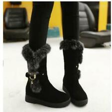 Fall Winter Women Faux Suede Fur Trim Round Toe Mid Calf Warm Casual Boots Shoes