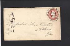 SPRING PLACE,GEORGIA,1860. 3CT NESBITT COVER TO ATHENS,GA. MURRAY 1826/1957.