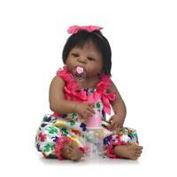 Reborn Baby Girl Doll Ethnic Black African American 22''Full Body Vinyl Silicone