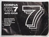 Bedienungsanleitung Cosina CX7 CX 7 Auto Focus Anleitung