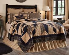 Dakota Black Tan Star Twin Queen King or Cal King Quilt : Cotton Primitive Cabin