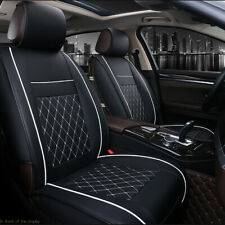 Black Car Front Seat Covers PU Leather Universal Seat Cushion Set Protector